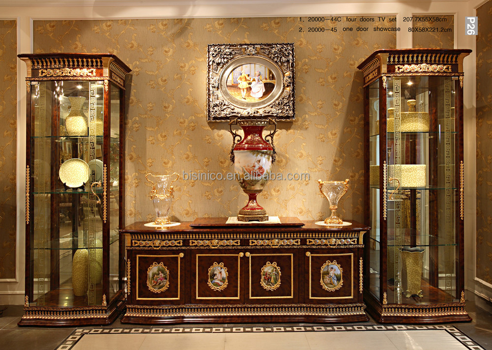 Luxury French Baroque Style Living Room Single Door Display Cabinet