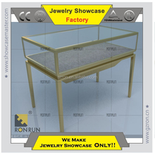 Jewelry display showcase factory stainless steel glass jewelry display showcase for sales