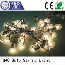 High quality 2 years warranty UL cetificited 8m 25 led outdoor clear bulb G40 Christmas string light