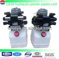 12v mini dc unidad de potencia hidráulica del tanque de acero 8l 24v dc unidad de potencia hidráulica