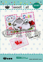high quality cross-stitch card case kit with a sweet cat design