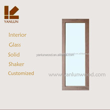 interior use solid oak tempered glass with handle wooden sliding glass door