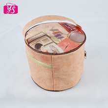 Unique lady round leather cosmetic bag promotional