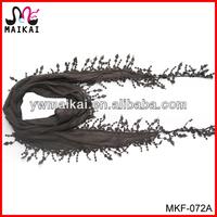Wholesale fashion cotton polyester lace edge multipurpose scarf