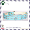 Blue Leather Diamante Dog Collar Double Rhinestone