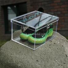 Pour adidas chaussures boîte de plexiglas acrylique boîte à chaussures avec serrure