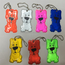 2016 high visibility advertising colorful reflective cute dog keychain with custom logo