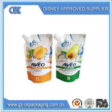 stand up pouch packing cooking oil plastic bag with spout/liquid plastic packing bag cleaser laundry detergent packing bag
