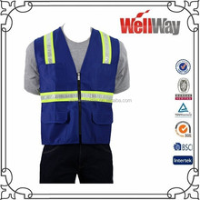 Wholesale China 100% polyester blue summer high visibility reflex work vest for traffic
