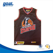 Most fashionable never fading sublimation customized college stripe basketball jersey