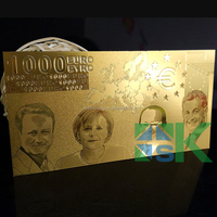 2015 Promotional Gift One-color 1000 Fake Euro Gold Plated Banknote