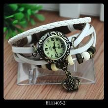 Fashion Crown Pendant Weave Wrap Vintage Retro Wrap Bracelet Watches