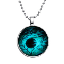 2015 New Time Gem Jewelry Necklace glow in the dark sunset glass dome necklace glowing jewellery