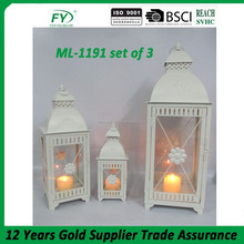 Fashionable design white home decoration moroccan lantern ML-1191 set of 3