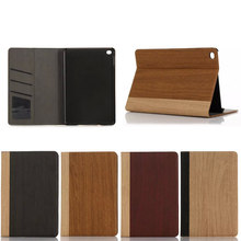 Factory Direct Selling For iPad Mini 4 Case, High Quality Wooden Pattern Leather Wallet Case for iPad Mini 4