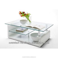 Moden white high gloss glass wooden coffee table