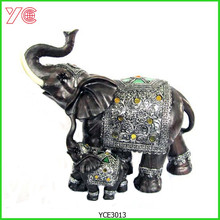 YCE3013 Mother and Son Decoration Silver Resin Elephant Figurines