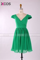 SBD045 Wholesale Cheap A-line V-neck Pleated Cap Sleeve Chiffon Green Knee Length Bridesmaid Dress