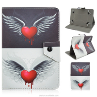 Painting Half Black and White & Bleeding Heart Design PU Leather Flip Stand Case Covers For Universal 7.0inch Tablets PC
