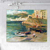 impressionism art boat on the beach oil painting