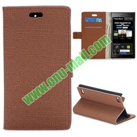 Cloth Texture Flip Pattern Leather Case for Blackberry Z3 with Magnetic Closure
