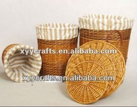 round large wicker laundry basket with lid (factory supplier)