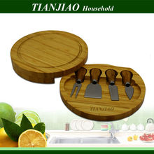 Bamboo cheese board box with knives set manufacturer for bamboo & wood products cheese box cheese knife with cutting board set