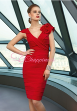 ısmarlama kısa kompanleme annesi gelin elbiseler pli diz boyu kırmızı anne akşam kısa elbiseler
