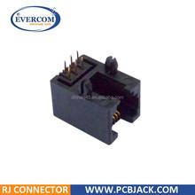 Side entry / 90 degree 6P6C PCB Mounting RJ11/RJ12 Modular Jack