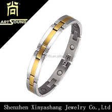 Ladies stress relieve gold stainless steel magnetic stone bracelet