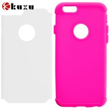 Hot Pink and White Hybrid Case Cover for Apple iPhone 6,factory price Slim Soft TPU Rubber material cell phone case