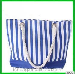 New design striped canvas handbag cotton rope foldable shopping bag