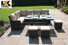 Aluminum Frame Outdoor Rattan Table and Sofa Dining Set Furniture