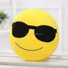 Hot sell round Plush emiji pillows cushions smiley emotion bolster yellow round cushion pillow