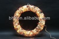 Rattan garland with berries with 20 clear lights