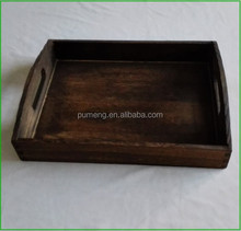 Retro Design Breakfast Wooden Rectangle Serving Tray