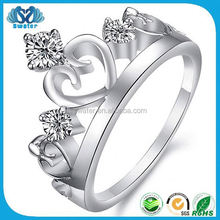 Crystal Jewelry 925 Sterling Silver King And Queen Couple Ring