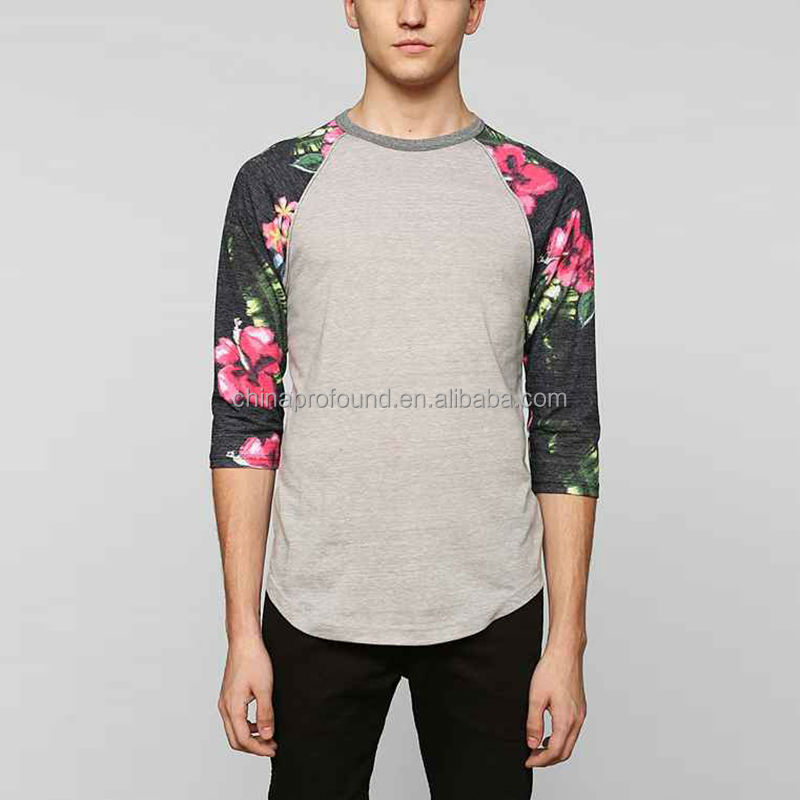 Mens 3 4 sleeve raglan baseball t shirt custom printing for Custom raglan baseball shirt