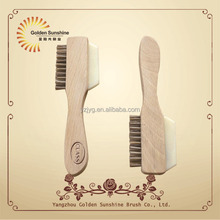 Hot selling new design wooden dance shoe cleaning polish brush with FSC beech wood,shoe polish brush