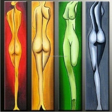 2015 Hot Seller Abstract Modern Art Sexy Nude Woman Oil Painting on Canvas, four Panels Wall Art for Decoration