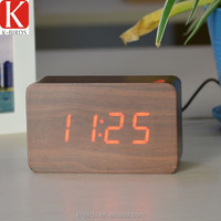 LED display wooden retro clock for Christmas gift