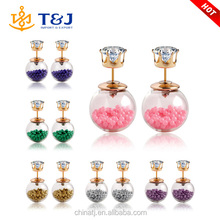 >>>>Cheap wholesale women wear jewelry ball with plastic beads /crystal stud earrings/