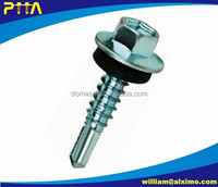 DIN7504K Hex Flange Head Self Drilling Screw With PVC Washer, PTA Marked On Head