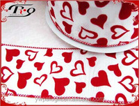 wedding decoration red and white heart shape polyester satin ribbon