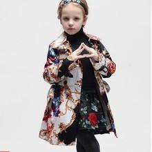 European style children printed long coat for girls kids double breast outwear