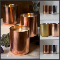 copper wax candle cup,400ml metalTealight Candles with copper,Golden finish brass metal soy candle vessel copper candle cup