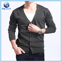 Plain knitted long sleeves v-neck cardigan sweaters for men, 2015 fashion sweater knitwear