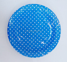 Party decorations set Polka dot Navy blue paper plate