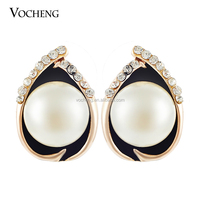 Wholesale 10pcs/lot Not Fade ! Women Jewelry Pearl Earring Real Gold Plated Stud Earring (Ve-290*10) Vocheng Jewelry