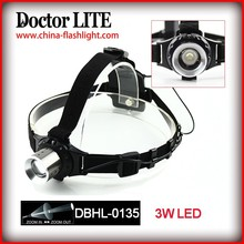 3W LED ABS + Aluminum Alloy Headlamp, Adjustable Head Light, Lightweight Back Battery Case 3W LED Headlamp for Head or Camping